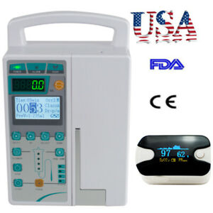 Usa Infusion Pump Iv Fluid Equipment Alarm Lcd Monitor Kvo Purge Oximeter