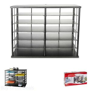 Desktop File Organizer Rubbermaid 12 Slot Black Metal Frame Removable Shelves