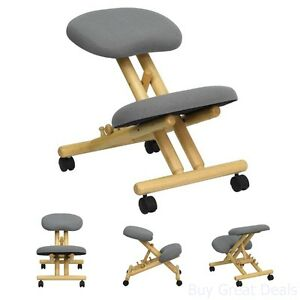 Kneeling Chair Wooden Mobile Ergonomic Posture Back Knee Health Office Furniture
