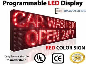 Outdoor 10mm Led Signs 63 x12 Programmable Red Time Text Open Digital Display