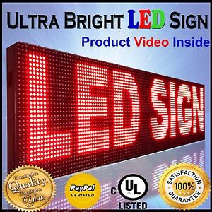 Open New Outdoor P10 Led Signs 88 x19 Programmable Red Message Time Text Board