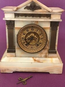 Antique 19th C Ansonia White Onyx Marble Mantel Clock Bronze Victorian 1880