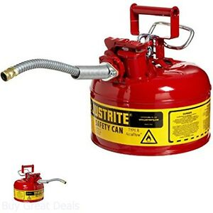Tank Gas Nozzle Spout Safety Can Flexible 1 Gallon Galvanized Steel Type Ii Red