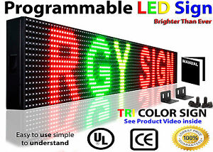 Outd oor Led Sign 6 x38 10mm Tri Color Programmab le Scrolling Digital Text