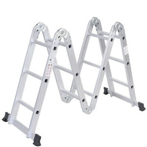 Aluminum Folding Ladder Practical Step Platform Multi Purpose Scaffold Silver