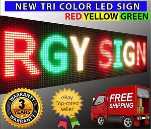 New Outdoor Tri Color Led Sign Bright 12 X 50 Programmable Scrolling Dsiplay