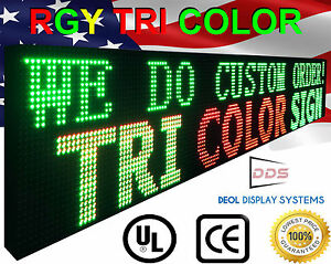 Outd oor Led 12 x63 P10 Tri Color Programmab le Digital Text Logo Neon Bar Sign