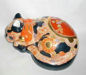 Vintage Japan Kutani Cobalt Orange Moriage 10 Sleeping Cat Figurine Signed