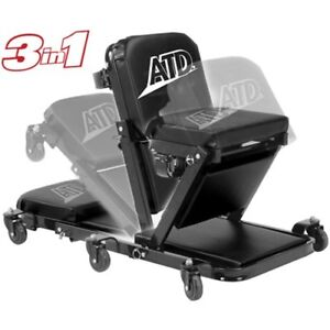 Atd Heavy Duty 3 In 1 Low Profile Under Car Z Creeper 81049 Black Padded Seat