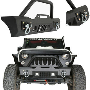 Black Stubby Front Bumper With Winch Plate D Ring For Jeep Wrangler Jk 07 18