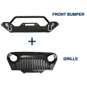 Black Front Bumper Angry Bird Grille W D Ring For Jeep Wrangler Tj 1997 2006