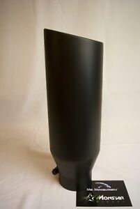 3 Inlet 5 Outlet 18 Long Matte Black Rolled Angle Diesel Exhaust Tip
