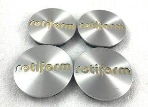 Rotiform Silver Custom Wheel Center Caps 1003 40mg Gold Emblem qty 4
