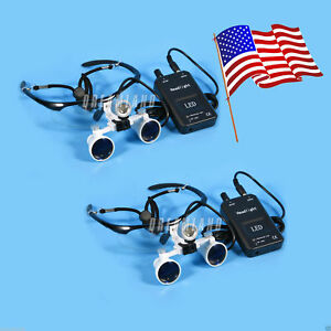 Usa 2sets 3 5x Dental Surgical Loupes Led Head Light Lamp With Clip 4color