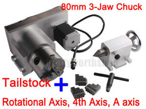 Cnc F Style A axis 4th axis Router Rotational Rotary Axis 3 jaw 80mm tailstock