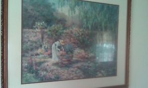 Print 36 X39 Victorian Garden Barbara Mock Large Frame And Mat See Pic