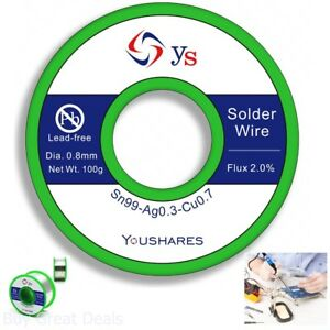 Youshares 0 8mm Lead Free Solder Wire With Rosin Core For Electrical Repair Flux