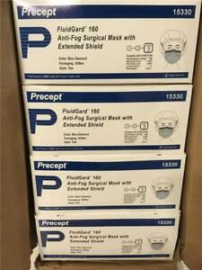 New Precept 15330 Fluidgard Surgical Tie On Mask W Extended Shield 100 Pc Case