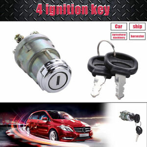 4 Position Ignition Starter Switch 2 Key Car Truck Boat Farm Machine Universal