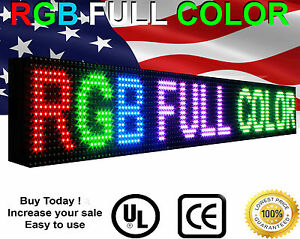 6 X 39 Led Video Sign 16m Color outdoor 10mm Programmable Scrolling Open Text