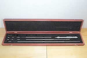 New Starrett Metric Vernier Rod Inside Micrometer Set 200mm 800mm 0 01mm
