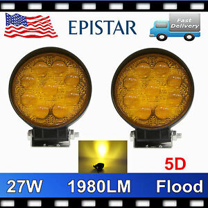 2x 27w 5 Round Led Work Light Flood Offroad Driving Fog Amber Warning Lamp 5d
