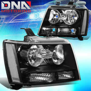 For 2007 2014 Chevy Suburban Tahoe Black Housing Clear Side Headlight Lamp Set