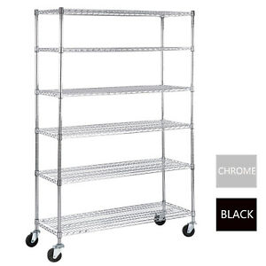 6 Tier Adjustable Wire Shelving Rack 82 x48 x18 Heavy Duty Layer Steel Shelf