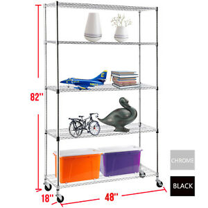 82 x48 x18 Heavy Duty 5 Tier Wire Shelving Rack Steel Shelf Adjustable 2 Colors