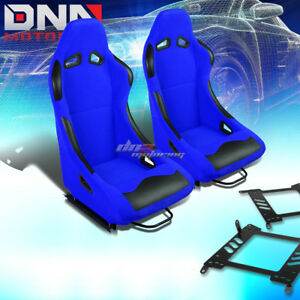Pair Black blue Cloth Bucket Type r Racing Seat bracket Fit 00 06 Sentra maxima
