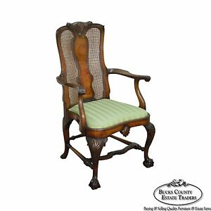 B Altman Co New York Antique Ball Claw Foot Burl Wood Arm Chair