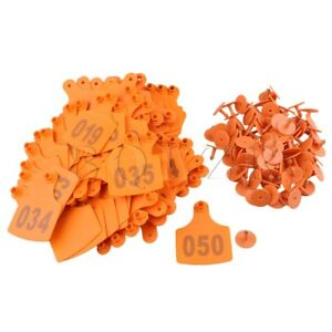 100x Bqlzr Number001 100 10x7 3cm Livestock Ear Tag For Sheep Cow Orange