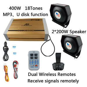 400w 12v Propagandistic Electronic Police Siren 18 Tones Dual Wireless Remotes