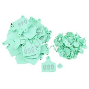 100x Bqlzr Number 001 100 10x7 3cmlivestock Ear Tag For Sheep Cow Green