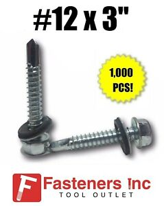 1000 Hex Rubber Washer Head 12 X 3 Self drilling Roofing Siding Screw Zinc