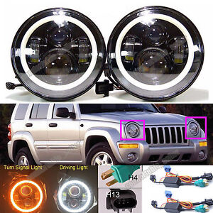 For Jeep Liberty Patriot Cj5 7 7 Led Halo Angel Eyes Headlight H4 H13 H6024 Lamp