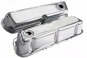 Sbf Chrome Steel Baffled Tall Valve Covers 62 up Ford 289 302 351w
