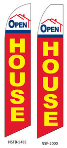 Two Open House 3 15 Foot Swooper Feather Flag Sign