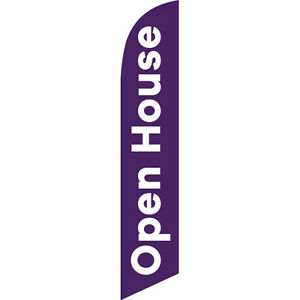 Two Open House Purple 15 Foot Swooper Feather Flag Sign