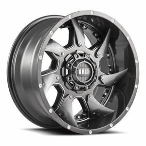 4 New 20x10 25 Grid Off Road Gd1 Gloss Graphite Milled 8x170 Wheels Rims