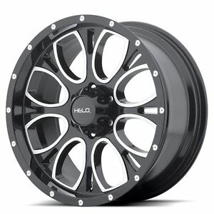 4 New 18x9 18 Helo He879 Gloss Black Machined And Milled 6x135 Wheels Rims