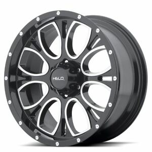4 New 16x8 0 Helo He879 Gloss Black Machined And Milled 5x114 3 Wheels Rims
