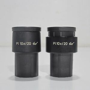 Carl Zeiss Pl 10x 20 Microscope Eyepiece Pair 30mm Diameter 444031 444032