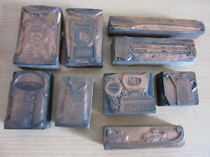 9 Antique French Printing Blocks Letterpress For Housewares Catalog Scales Lamp