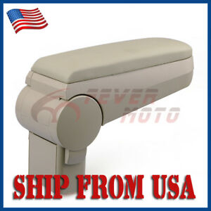 Us Beige Front Center Console Leather Armrest Box For Vw Golf Jetta Mk4 00 04 Fm