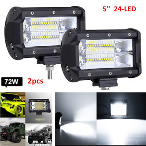 2x 5 72w Led Work Light Bar Flood Driving Lamp Jeep Truck Boat Offroad Bracket