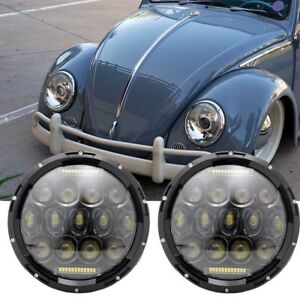 7 Inch Chrome Led Headlights Upgrade Hi Low Beam Round Kit For Vw Beetle Classic