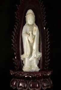 Beautiful And Rare Chinese Qing Dynasty Hetian Jade Kwan Yin Statue