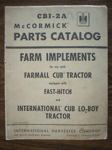 Ih Farmall Mccormick Cub Fast Hitch Farm Implements Parts Manual