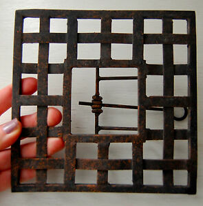 Vintage Antique Wrought Iron Concrete Surface Stamp Press Square Tool Thatched